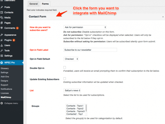 eMD MailChimp WordPress plugin allows adding subscription fields for multiple forms