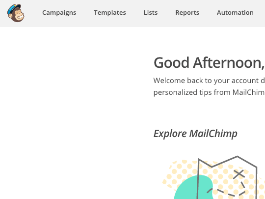 MailChimp Screen after logging in
