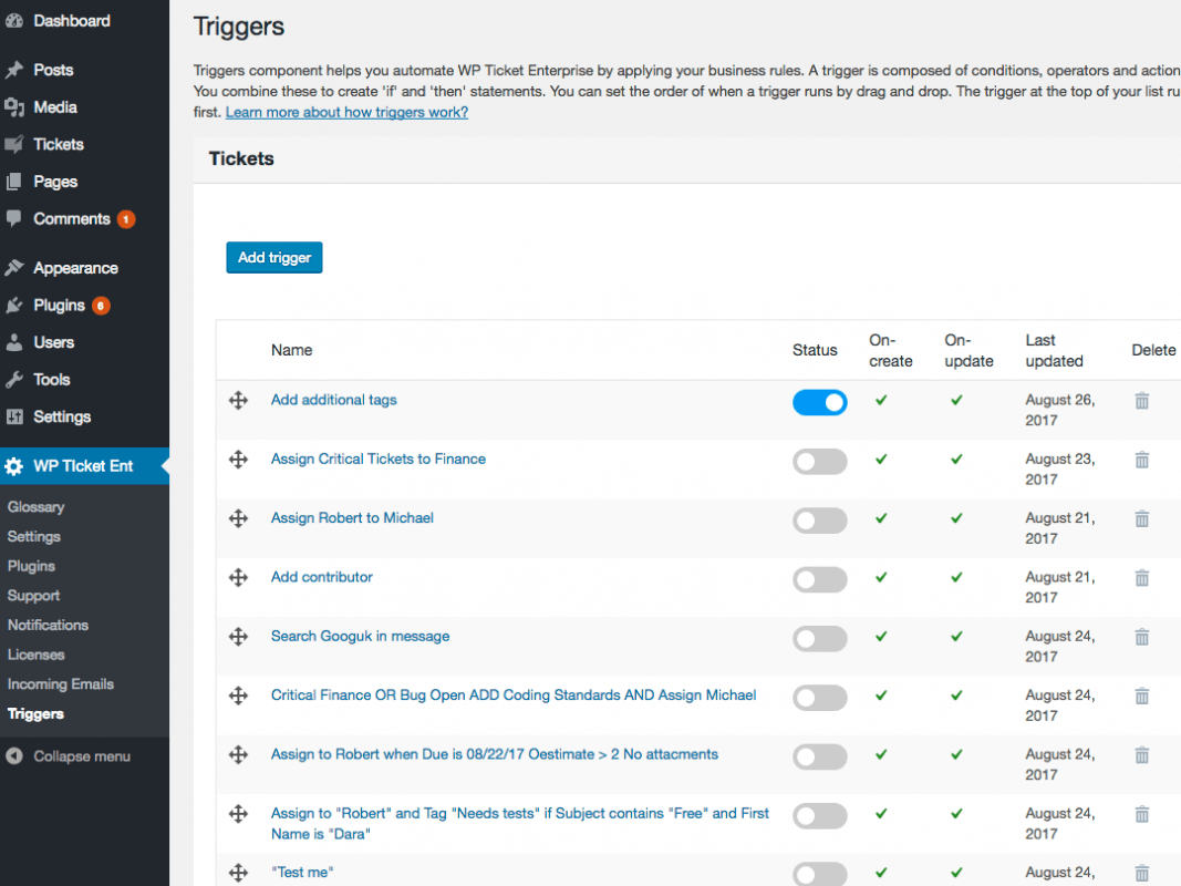 Triggers is a workflow component used by some emdplugins WordPress plugins.