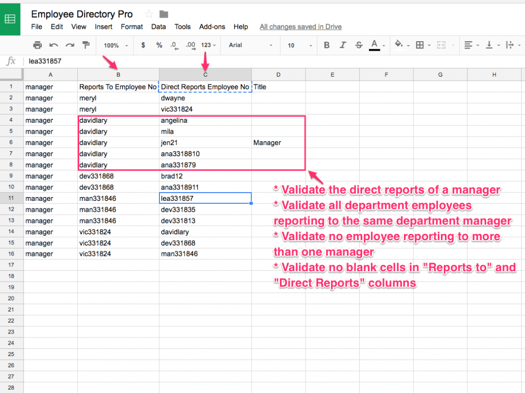 Validation of employee relationships using CSV export is another method to create Organization charts in Employee Directory Pro