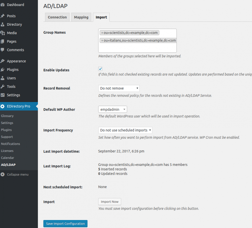 Employee Directory WordPress plugin can used to sync records from Active Directory LDAP servers.
