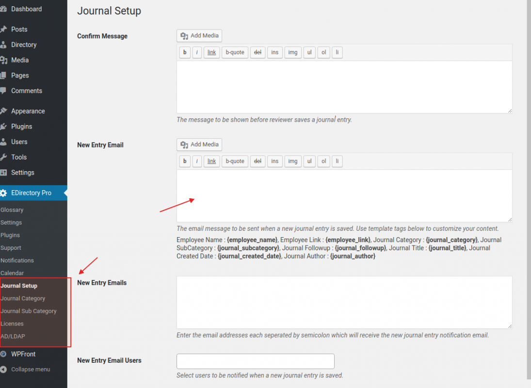 Employee Journal Performance Review Setup has powerful options to personalize your message in emails.