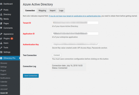 Microsoft Azure Active Directory Addon Connection Settings
