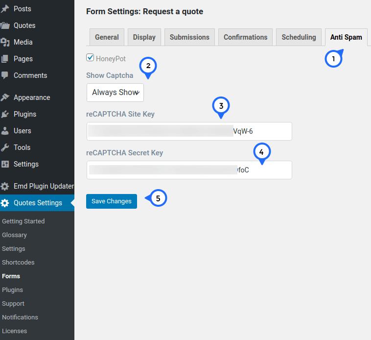 Enable reCAPTCHA v3 on EMD Form Builder forms by entering site and secret keys