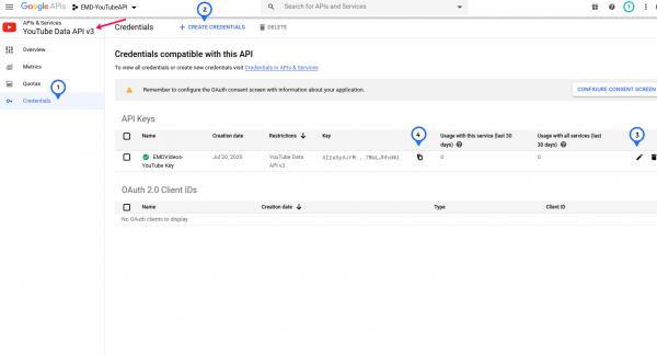 How to create YouTube API key for YouTube ShowCase WordPress plugin