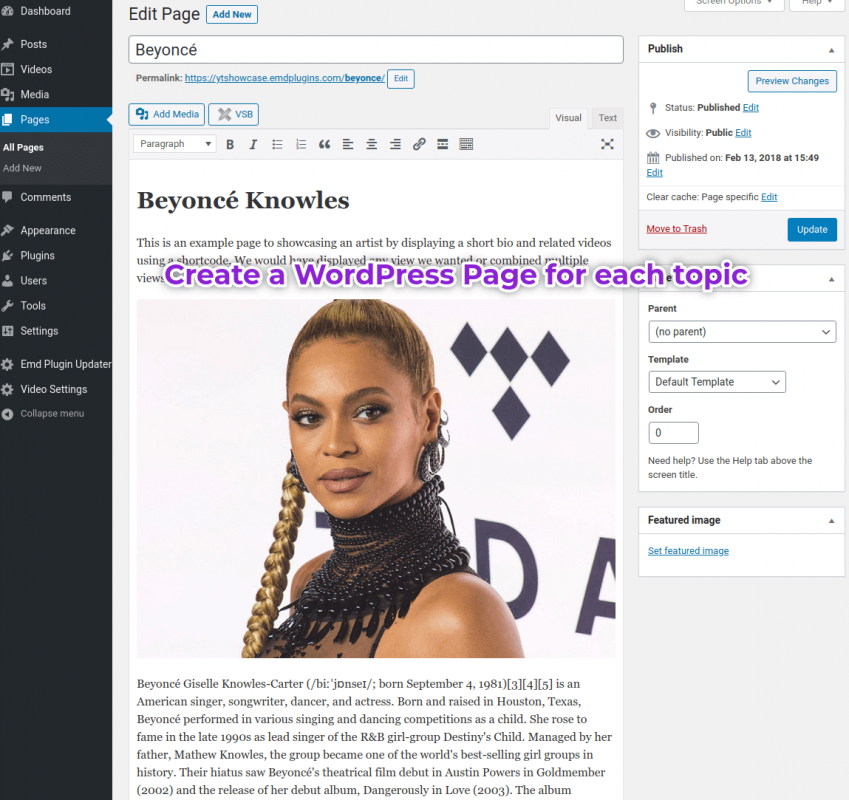 Create a WordPress page for each YouTube video category