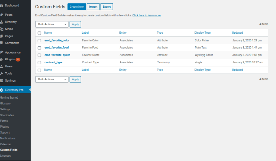 EMD Custom Field Builder for WordPress is a powerful tool to create unlimited number of custom fields.