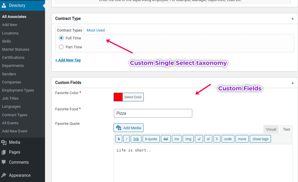 EMD Custom Field Builder creates custom fields and taxonomies in WordPress editor.