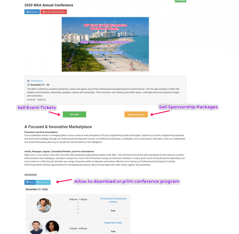 WP Easy Events Enterprise WordPress Plugin Conference Page